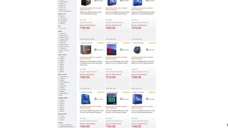 intel cpu prices
