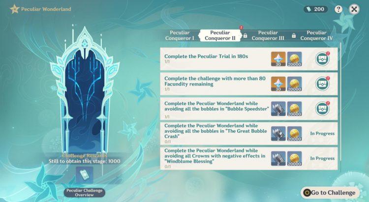 Genshin Impact Peculiar Wonderland Peculiar Conqueror Ii Peculiar Conqueror 2 Challenges Rewards Bubble Speedster 3