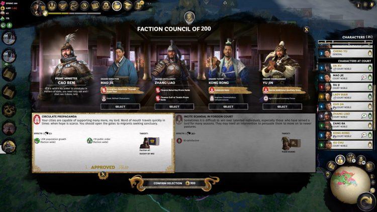 Total War Three Kingdoms Fates Divided Руководство по переработке Совета фракций 1