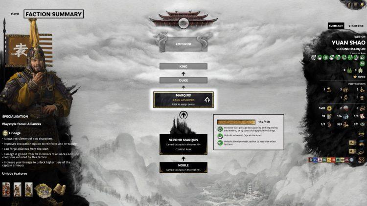 Total War Three Kingdoms Fates Divided Faction Ranks Rework Prestige Points Guide 1