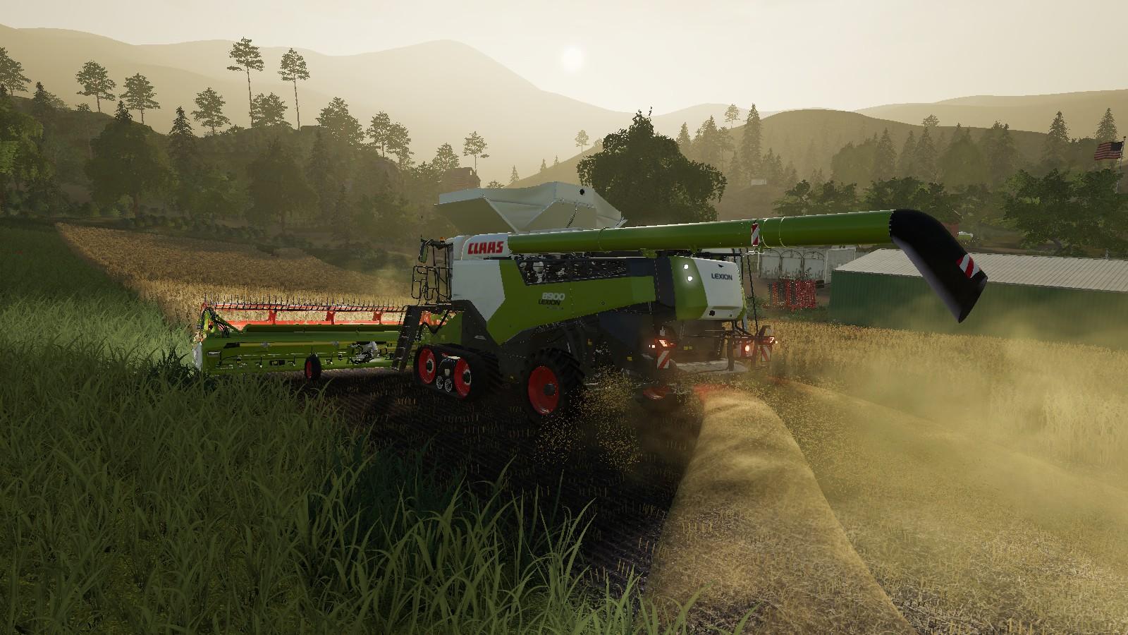 Farming Simulator 19 Platinum Expansion Harvesting At Sunrise