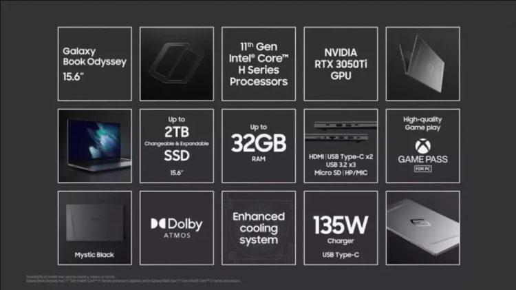 Samsung Galaxy Book Odyssey Nvidia GeForce RTX 3050 Ti
