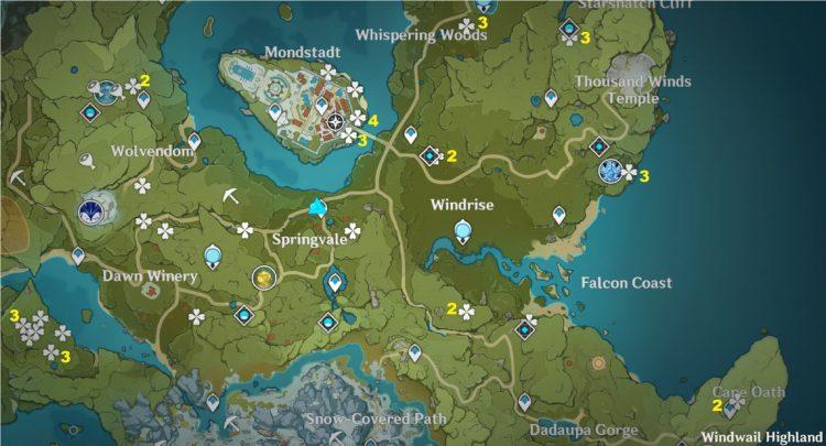 Genshin Impact Farm Dandelion Seed Locations Eula Ascension Jean Ascension Guide 1 Map