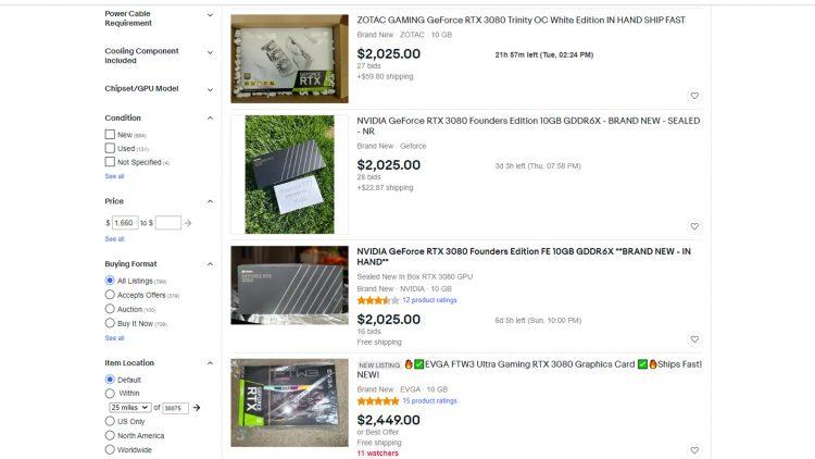 Ebay Nvidia Rtx 30 Series Prices