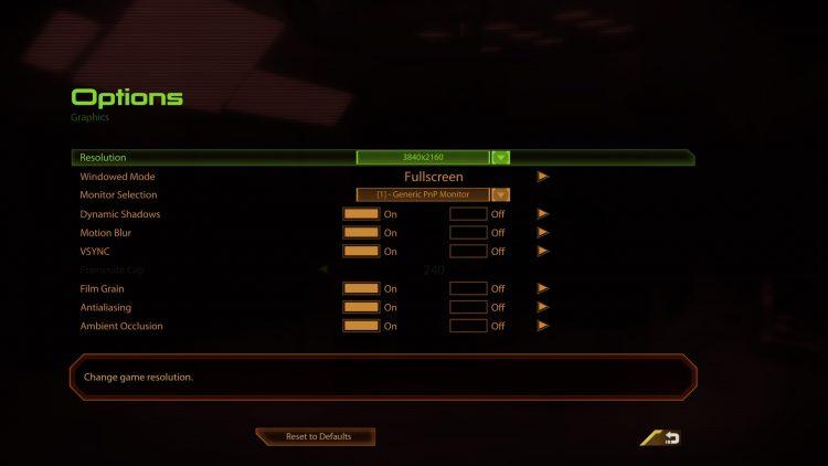 Mass Effect legendary edition Tech Review menu graphics settings