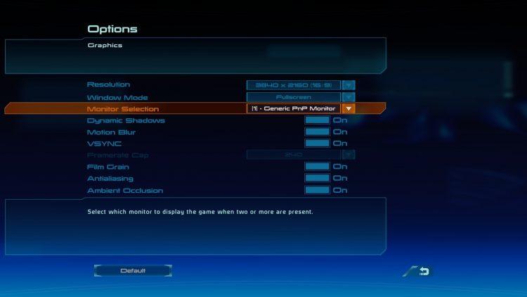 bioware menu graphics settings