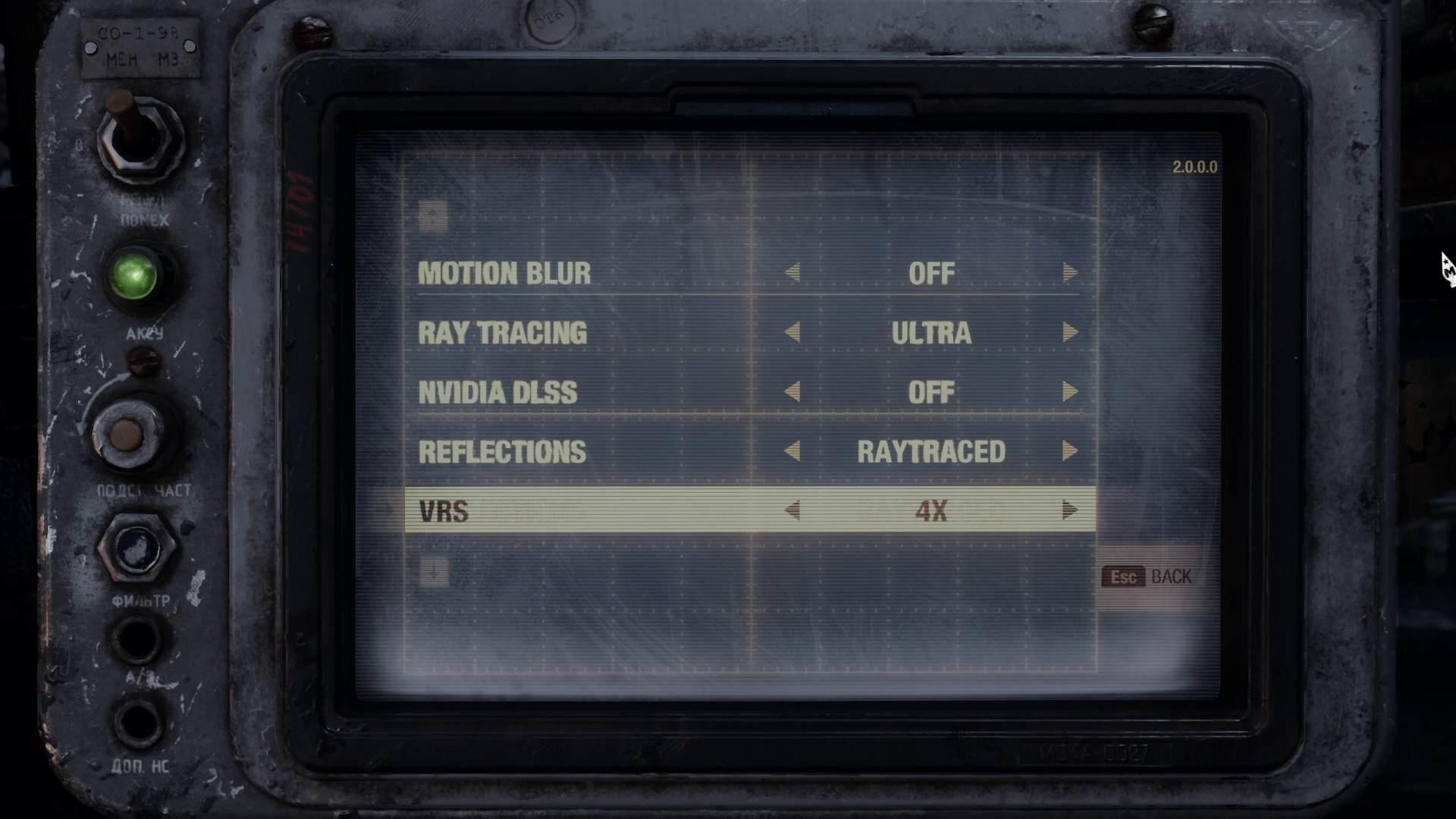 Metro Exodus Pc Enhanced Edition Ray Tracing Video Settings Menu