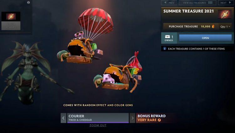 Dota Plus Summer Update Trod & Cheddar Courier rewards pass 2021