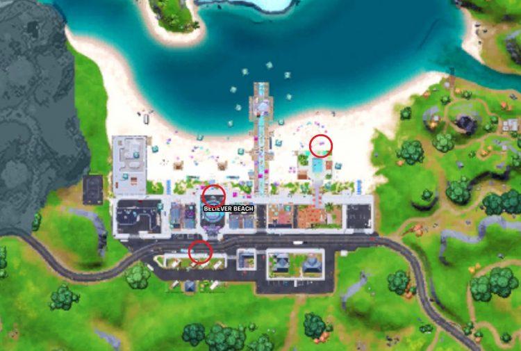 Fortnite Boombox Challenge season 7 legendary map locations believer beach