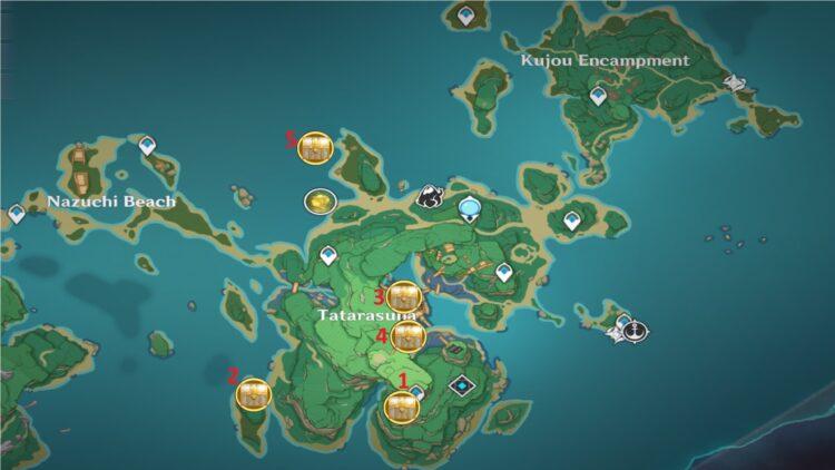 Genshin Impact Kannazuka Luxurious Chest Guide Inazuma Tatarasuna Electro Barrier Puzzle 1 Map