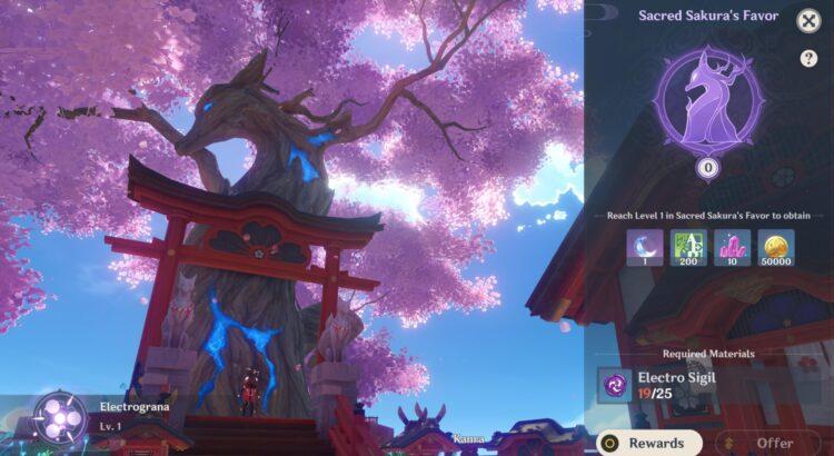 Genshin Impact Sacred Sakura Favor Upgrade Perks Rewards Guide 2