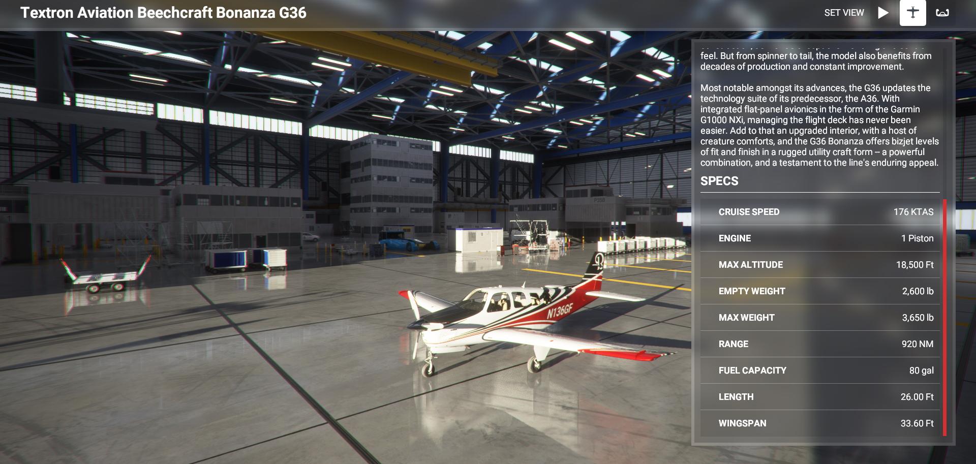 Microsoft Flight Simulator Beechcraft Bonanza G36