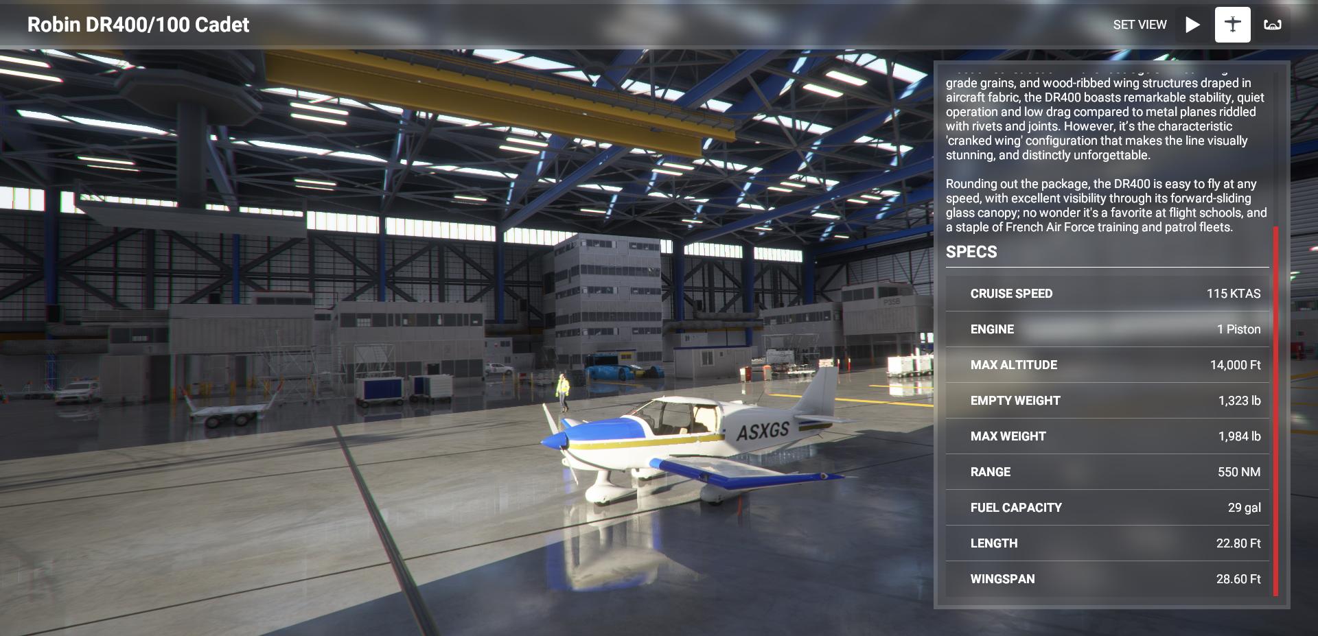 Microsoft Flight Simulator Robin Dr400 100 Cadet