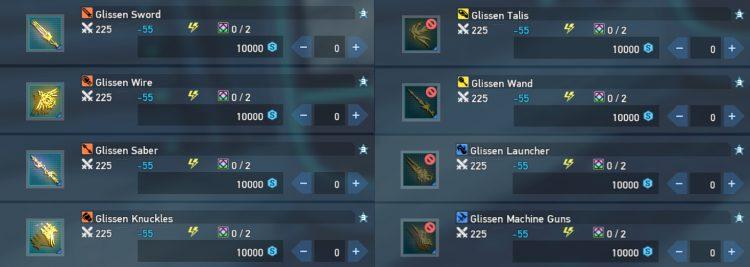 Pso2 New Genesis Seasonal Points Glissen Weapons
