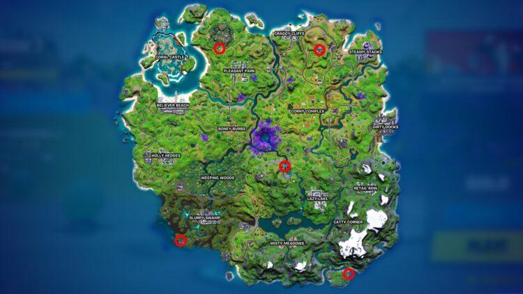 Карта локаций инопланетных артефактов Fortnite, неделя 7, сезон 7