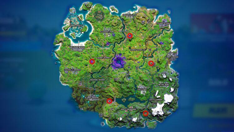 Fortnite Alien Artifacts Locations Week 8 Map Kymera Skin