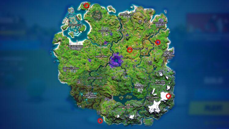 Fortnite Season 7 Map Locations Alien Artifacts Week 6