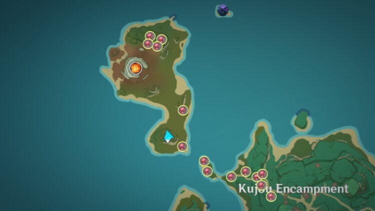 Genshin Impact Dendrobium Farming Locations Guide Dendrobium Locations Dendrobium Farming Kujou Sara 2a