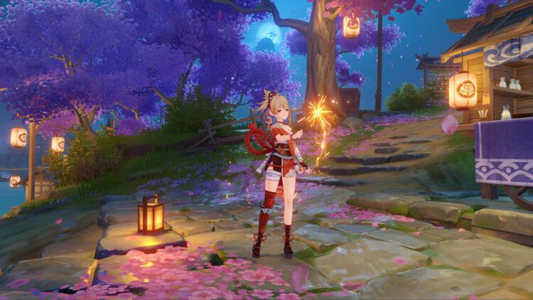 Genshin Impact Yoimiya Guide Best Weapons Artifacts Talents Build Thundering Pulse Hamayumi Rust Shimenawa's Reminisce 1