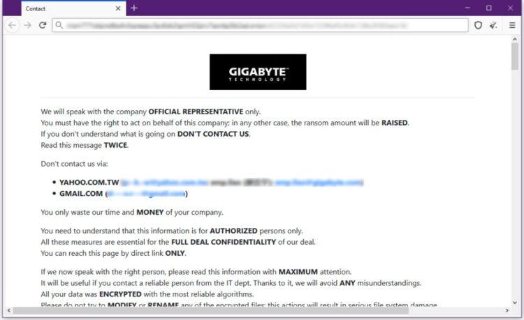 Gigabyte ransomware attack