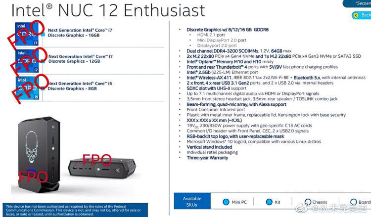 Intel Nuc 12 Enthusiast Serpent Canyon Alder Lake Dg2 Leak