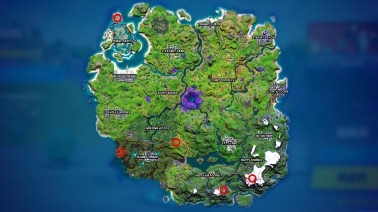 Fortnite Season 7 Map Alien Artifacts Week 10 Locations Kymera Alien