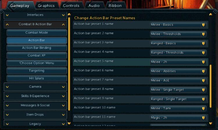 Runescape Action Bar Custom Names Update