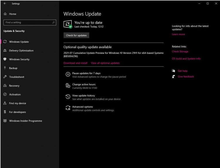 Windows 10 update performance