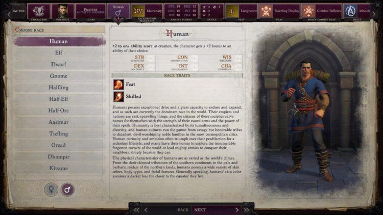 Pathfinder's wrath of the best fit races to choose from Dhampir Kitsune Tiefling Elves Oread 1