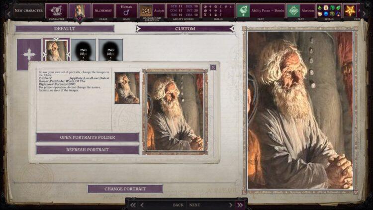 Pathfinder Wrath Of The Righteous Как использовать индивидуальный портрет 1a