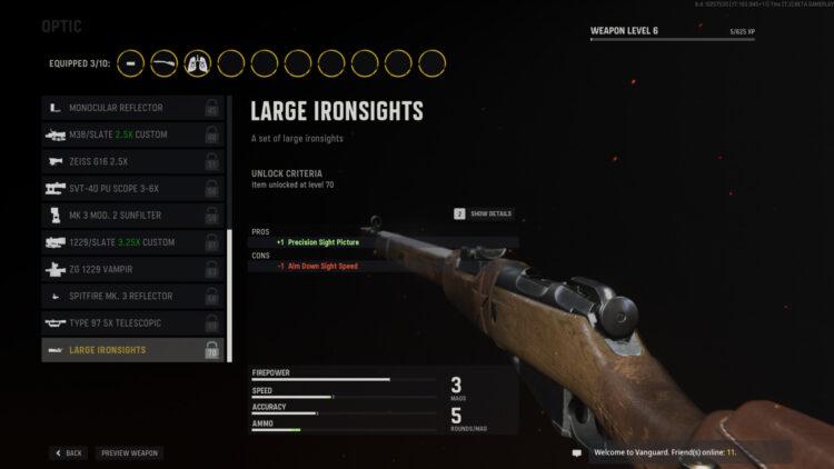 Call Of Duty Vanguard Impressions Трехлинейная оптика для винтовки Большие железные прицелы