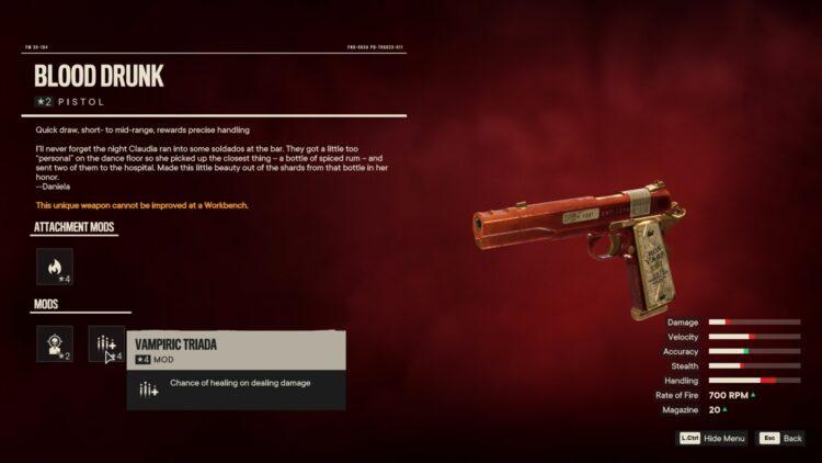 Far Cry 6 Blood Drunk Уникальный пистолет Вилла Хосе 2