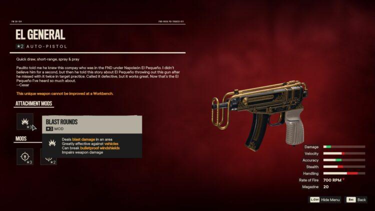 Far Cry 6 El General Unique Auto Pistol 2