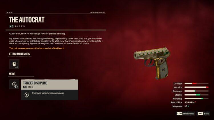 Far Cry 6 Автократ Уникальный пистолет Уникальное оружие 2