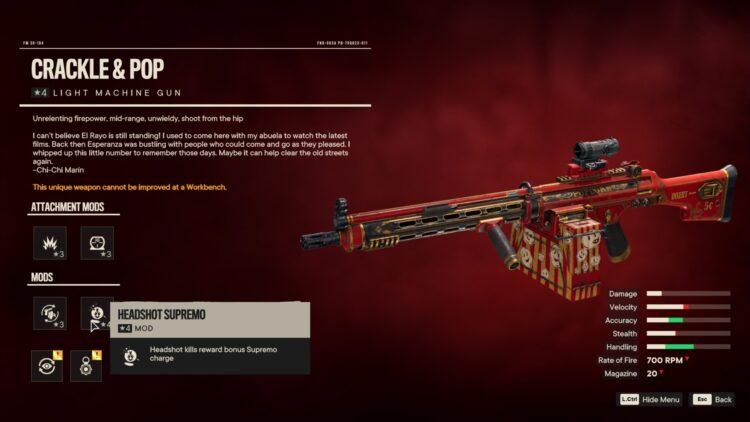 Far Cry 6 Crackle & Pop Уникальный автомат Уникальное оружие Потерянный рай El Rayo Cinema 2