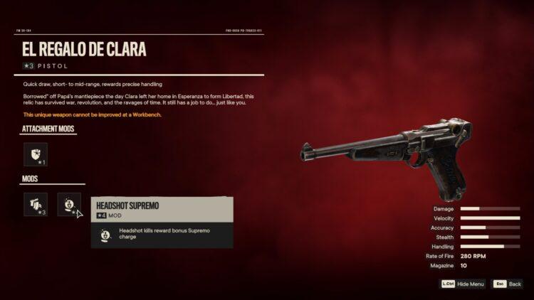 Far Cry 6 El Regalo De Clara Unique Pistol Unique Weapon Against The Wall 2