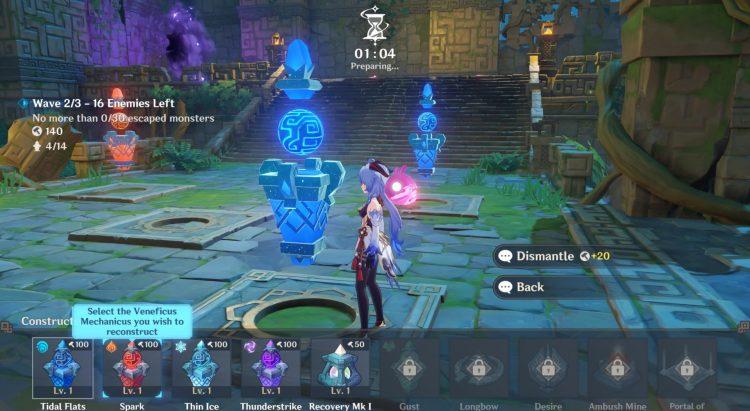 Genshin Impact Theater Mechanicus Guide Xiao Lantern Veneficus Sigil Tower Defense 1a
